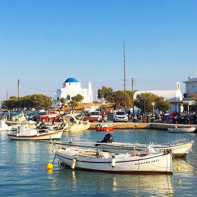 he small & lovely port of Antiparos island (Αντίπαρος) . It's right across from Paros island and is perfect for a day trip . Great beaches to discover , also there is the cave of Antiparos to explore !
