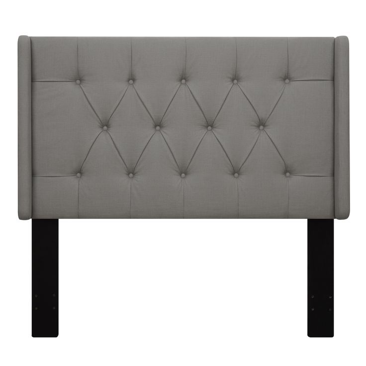 wingback tufted grey king size upholstered headboard