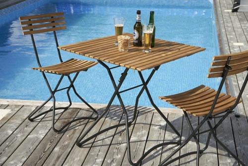 Barista – vacker café-/balkongmöbel i teak och aluminium. Utemöbler, trädgårdsmöbler, Outdoor furniture.