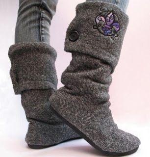 Reciclagem: Botas feitas com blusa de lã velha PaP Sapatilha que vira bota | A Gaivota Artesanato