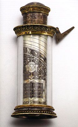 """A German silver, gilt and rock crystal pillar sun dial with calendar, serving as a complete civil and religious compendium   of time, by Wolfgang Fugger, c. 1563."""