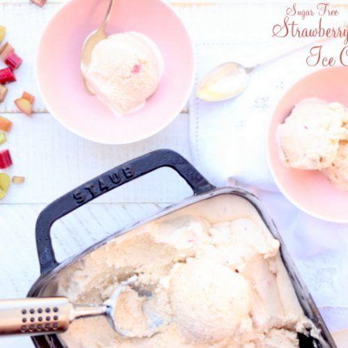 Strawberry Rhubarb Ice Cream, keto ice cream, sugar free ice cream, ketogenic ice cream, keto dessert, ketogenic dessert, sugar free dessert, keto recipe