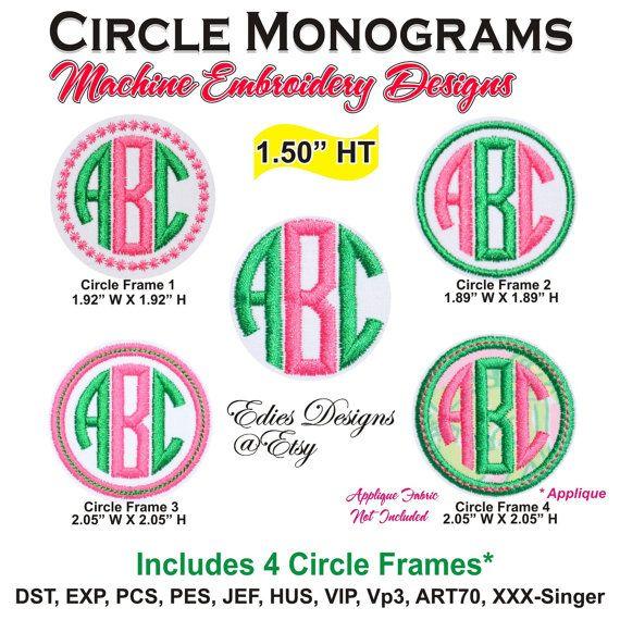 circle monograms machine embroidery designs monogram font bx files bx format digital download