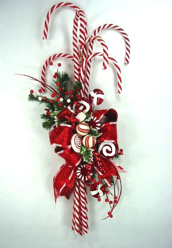 Candy Cane Swag Christmas Wreath by Ed The Wreath Guy