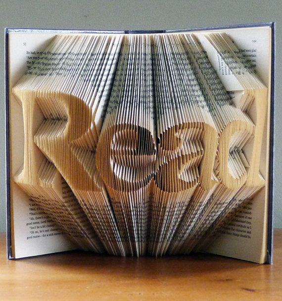 Folded Book Sculpture - READ - Home Decor - Gifts for Book Lovers - Best Selling Item - Teacher's Gift - Unique Present - Book Sculpture on Etsy, $125.00