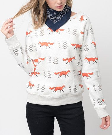 Another great find on #zulily! White & Orange Fox Sweater #zulilyfinds