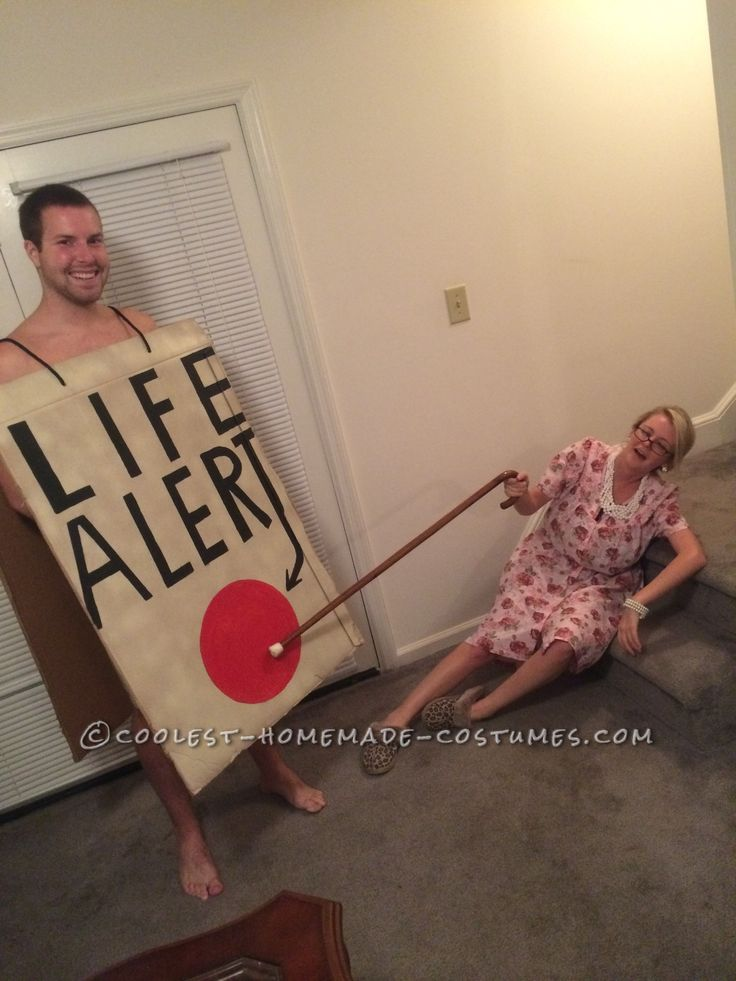 funny old lady and life alert button couple costume - Funniest Diy Halloween Costumes