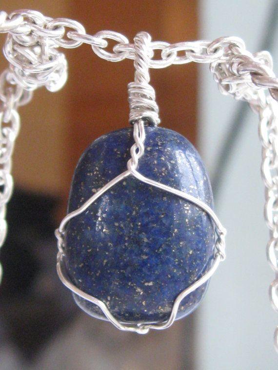Lapis lazuli pendant wire wrapped in sterling silver & silver necklace by CraftyCristian, $60.00
