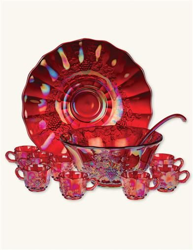 *RUBYWARE PUNCH BOWL SET ~ Carnival Glass, cast from a century-old collection, this dazzling opalescent glass marries all of the colors in existence within crimson. 8 cups, plate, bowl and ladle.