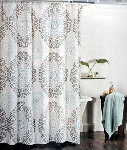 Tahari Fabric Shower Curtain Gray And Aqua Blue Scroll