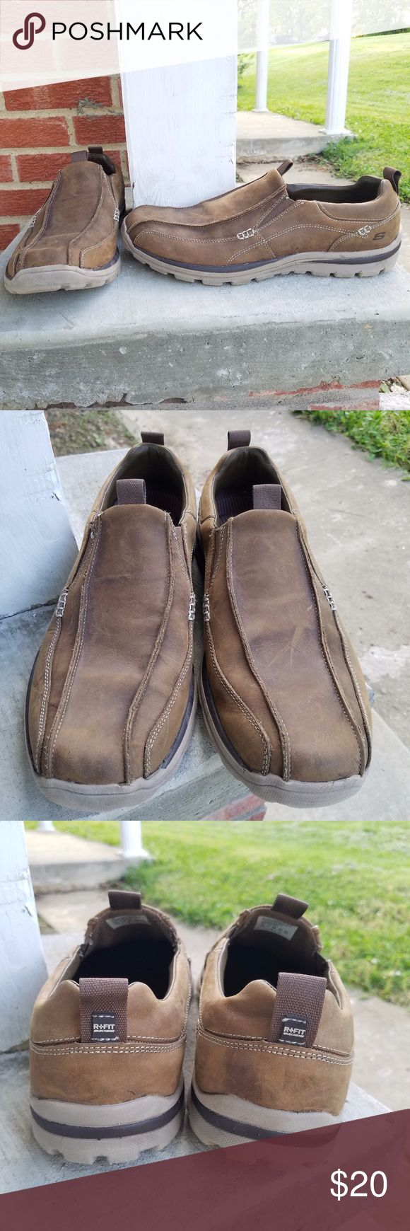 Skechers Relaxed Fit Men's Leather Shoes Size 12 Leather Upper with memory foam in the soles. Worn a handful of times! Size 12 men's Skechers Relaxed Fit slip on shoes. Perfect for work! Bundle and save! Skechers Shoes Loafers & Slip-Ons