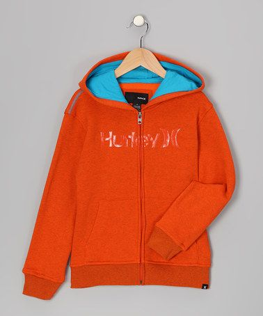 Take a look at this Blaze Orange Zip-Up Hoodie - Infant by Hurley on #zulily today!