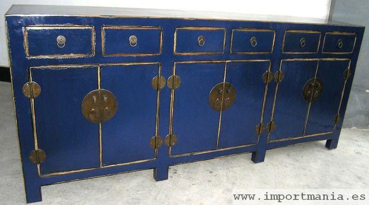 Aparador chino azul anticuario muebles chinos muebles for Muebles orientales madrid
