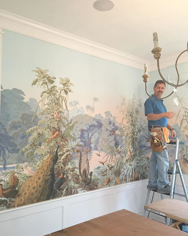 Probably the most amazing wallpaper install we have ever done. Thank you Robert! I cannot wait to see it finished. #Zuber