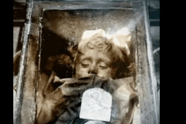Maybe not a ghost story, but definitely haunting and creepy.  Beautiful little Rosalia died in the 1920s and was mummified...she still can be seen today in Sicily.  So, are here eyes opening and closing or not?  You be the judge!