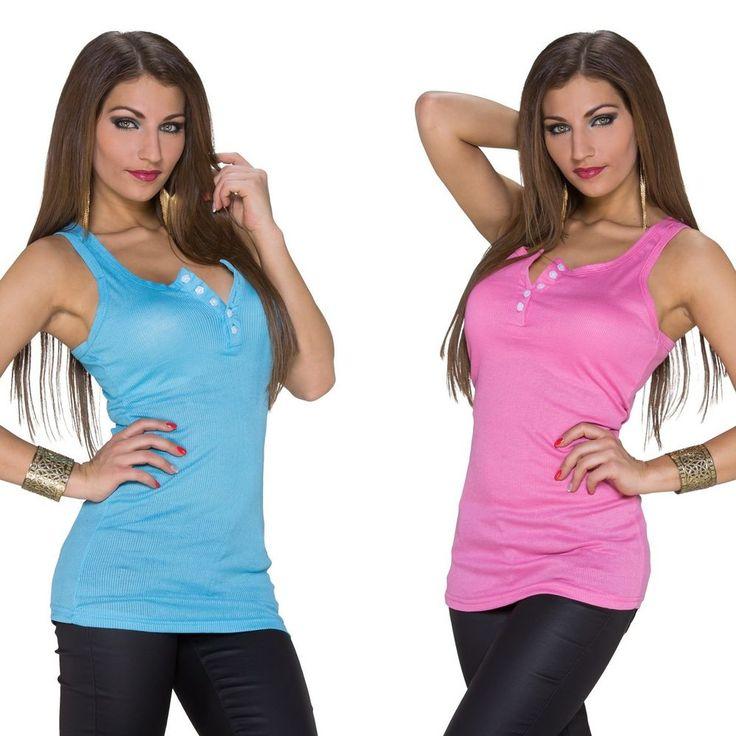 Basic Shirt Trägertop TankTop Shirt Longtop Longshirt Talliert Top 36/38 5Farben