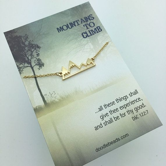 Gold Mountain Necklace - Gold Bar Mountain Necklace - choose carded Mountains to Climb or in a silver gift box