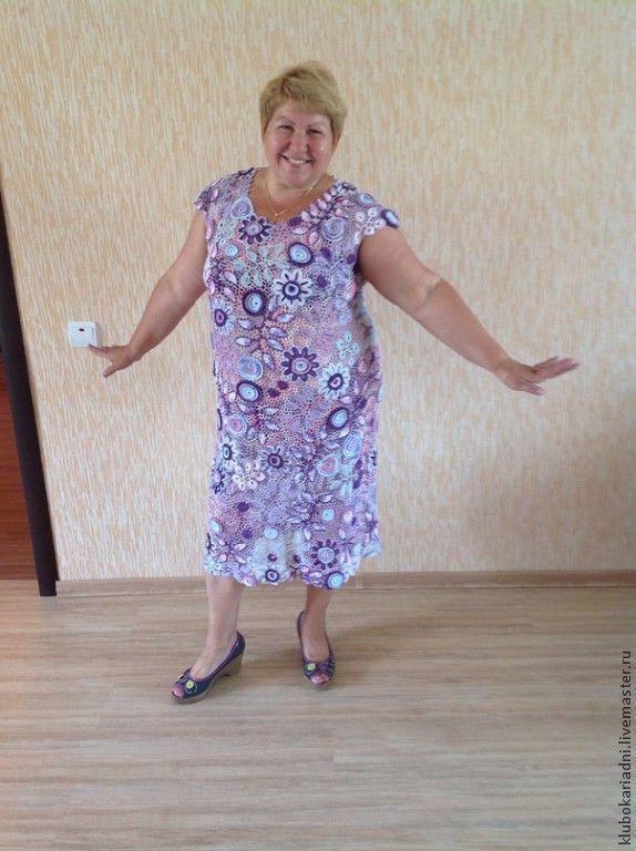 Купить платье СИРЕНЕВАЯ МЕЧТА (большие размеры) - сиреневый, ирландское кружево, большой размер, сиреневые цветы
