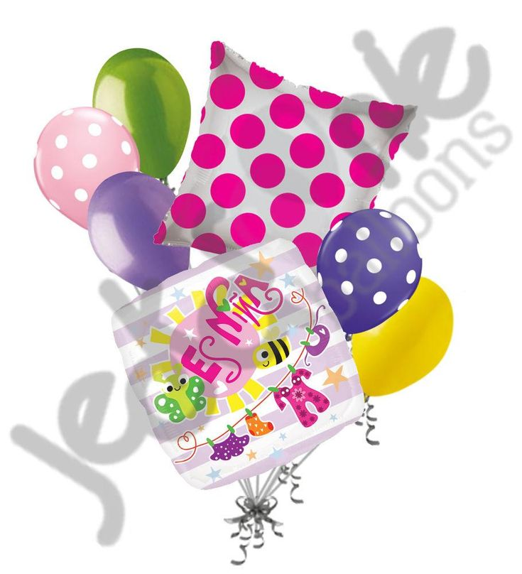 Es Niña Pink Stripes & Bugs Balloon Bouquet