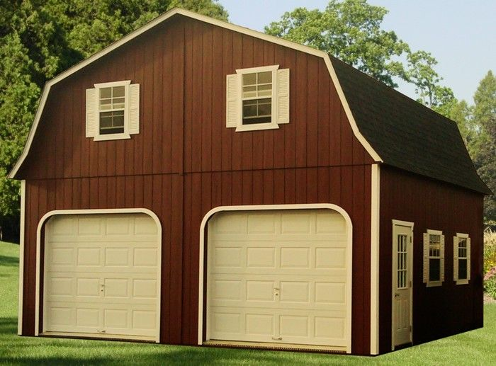 Brown and white barns quality amish built 24x24 double for 24x24 cabin