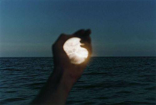 moon, hand, and sea image