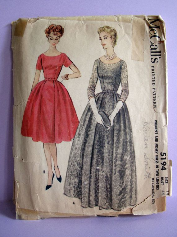 McCall's 5194 Vintage 1950s Sewing Pattern: Scoop Neck Dress in Two Lengths With Fitted Bodice and Full Gored Skirt