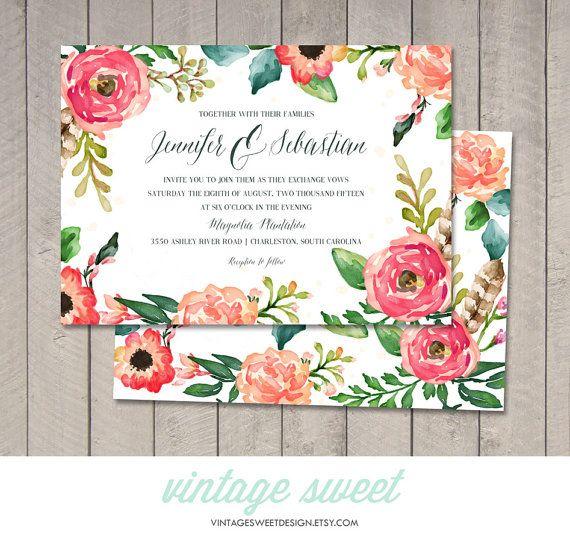 Watercolor Wedding Invitation RSVP от vintagesweetdesign на Etsy