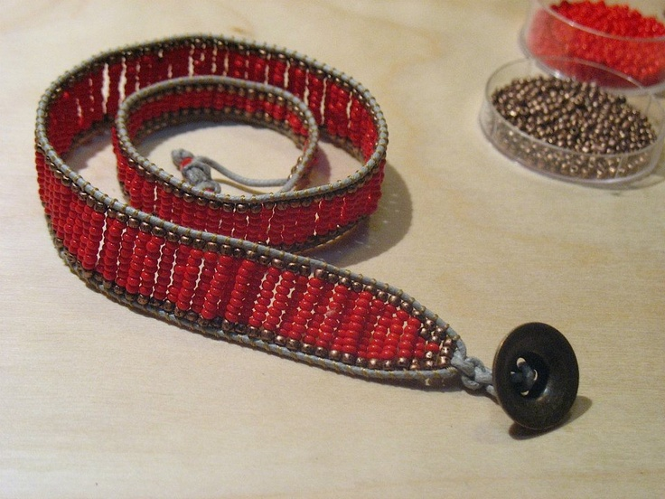 red beads crochet bracelet