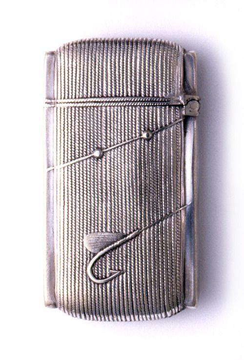 """Silver """"Fishing Reel"""" Matchsafe, Late 19th Century"""