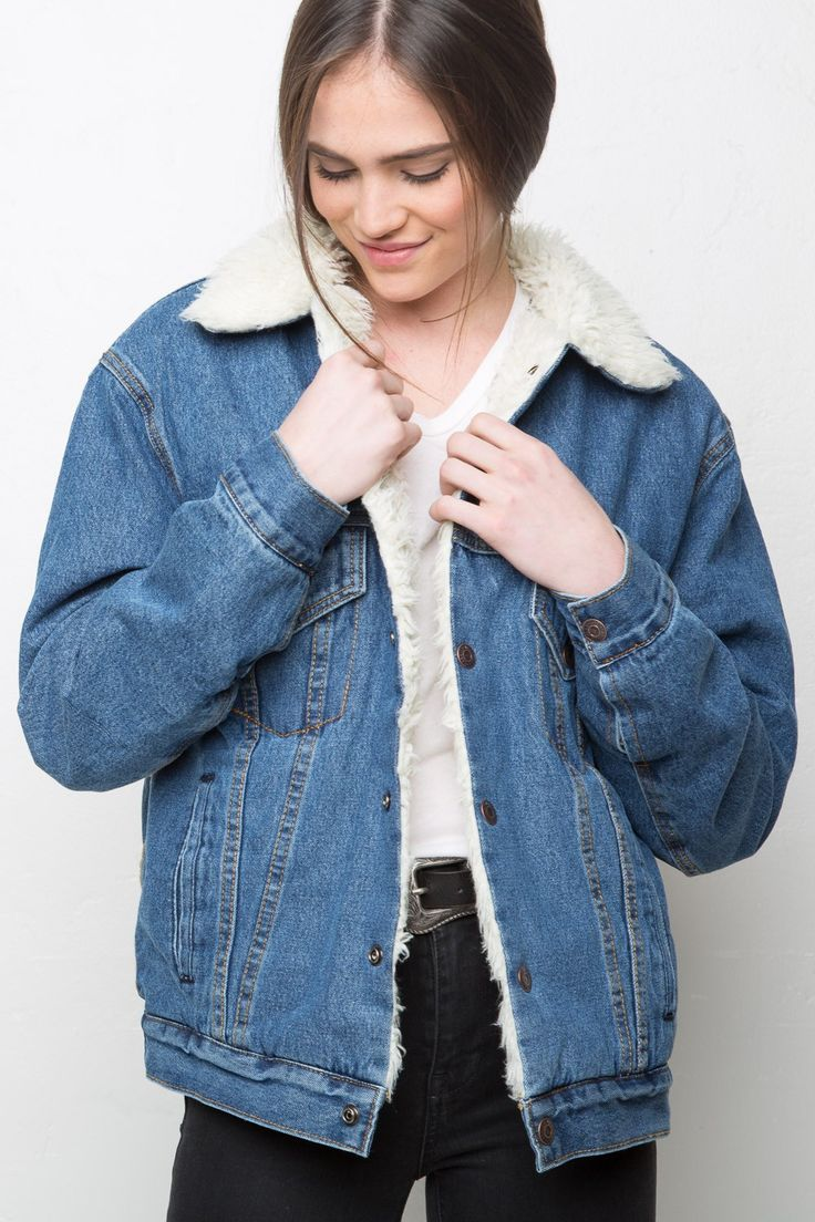 Brandy Melville Anri Fur Denim Jacket Outerwear