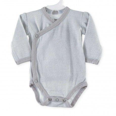 Body bébé mixte croisé à rayures grises #Kinousses