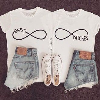 t-shirt matching shirts for best friends best friends top bff summer best bitches black white best bitches shirt fashion cool trendy girly summer outfits lookbook tumblr style quote on it bestfriend shirt bff shirts best buds swag dope matching shirts