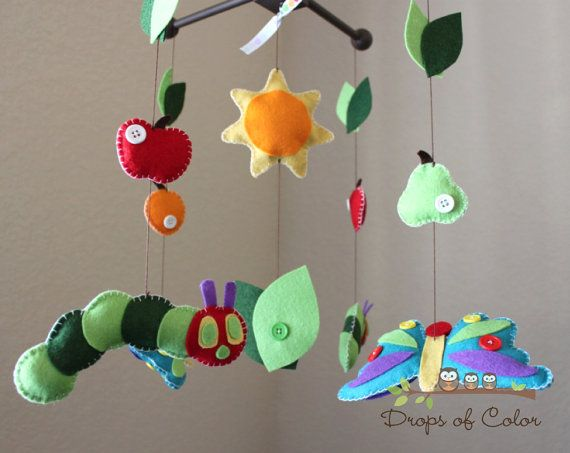 """Baby Crib Mobile - Baby Mobile - Nursery Caterpillar Butterfly Mobile """"Inspired by the Very Hungry Caterpillar"""" Mobile, via Etsy."""