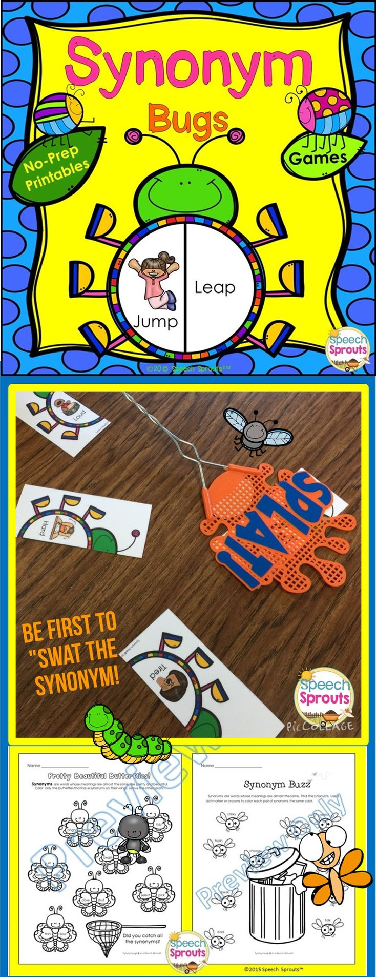 $ Have your kids buzzing about synonyms! Grab a flyswatter and be the first to swat the matching synonyms as you build your bug collection Grab the hole puncher and eat through some leaves as you find synonyms in Synonym Crunch! 15 no-prep interactive activities for your classroom/ speech therapy room, or home practice