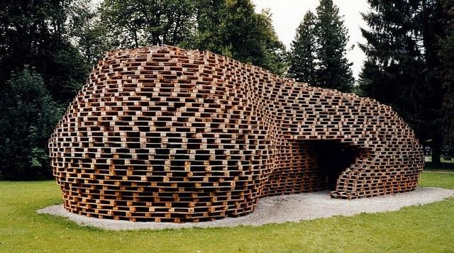 The Palettenpavillion by Matthias Loebermann made from shipping pallets.