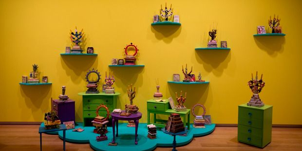 Tessa Laird ceramics in the Freedom Farmers exhibition at Auckland Art Gallery. Photo / Dean Purcell