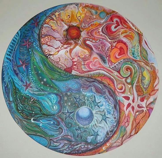 Yin and Yang, cool and warm painting idea with pretty flowers, stars, hearts, moon and swirls.