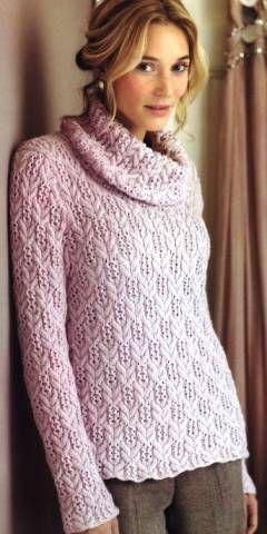 Теплый розовый пуловер | Вязание и рукоделие