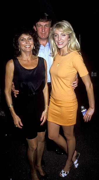 Ann Olgetree Donald Trump and Marla Maples during 1991 Pathmark Tennis Classic July 20 1991 at Ramapo College in New York City New York United States