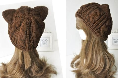 """Cat Ears"" Knitted Beanie Cap (5 Colors)"