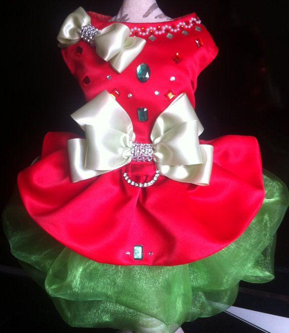 Christmas Dog Dress lined. rhinestones by LaVitaPetFashion on Etsy
