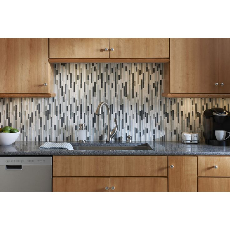 Lowes Kitchen Tile: Shop Allen + Roth Venatino Mosaic Stone And Glass Wall