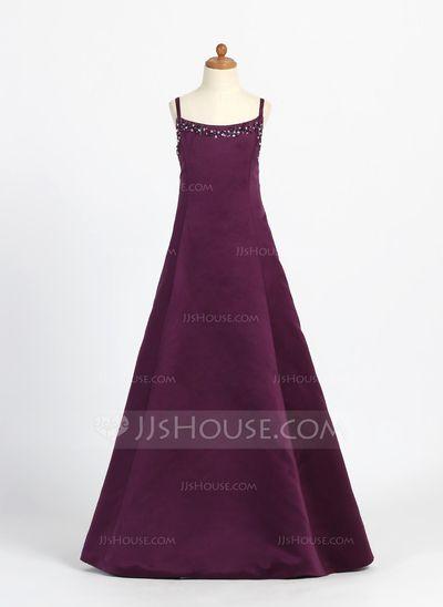Junior Bridesmaid Dresses - $106.99 - A-Line/Princess Scoop Neck Floor-Length Satin Junior Bridesmaid Dress With Beading (009000707) http://jjshouse.com/A-Line-Princess-Scoop-Neck-Floor-Length-Satin-Junior-Bridesmaid-Dress-With-Beading-009000707-g707