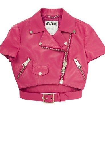 MOSCHINO - Cropped biker jacket#alducadaosta #newarrivals #moschino #runway #capsule #collection #think #pink #style #fashion #cool #love #girl #women #apparel #accessories