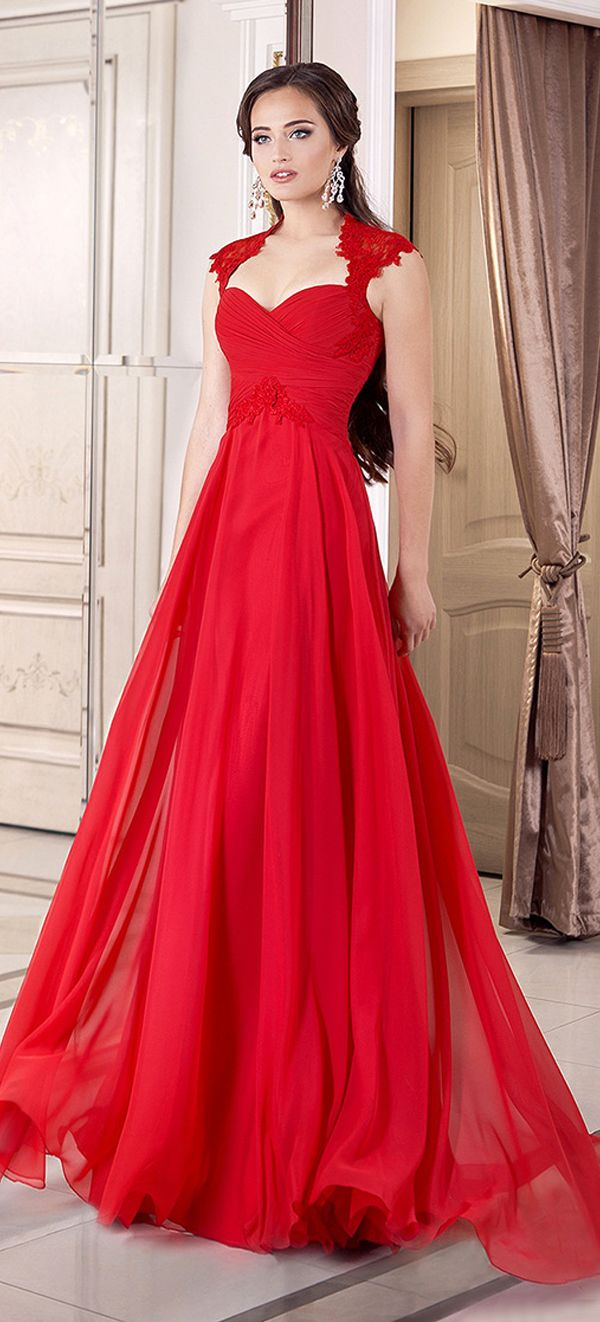 Elegant Chiffon Queen Anne Neckline Full-length A-line Evening Dresses