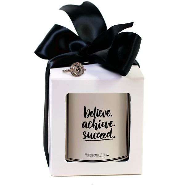 Believe. Achieve. Succeed. Quote Candles