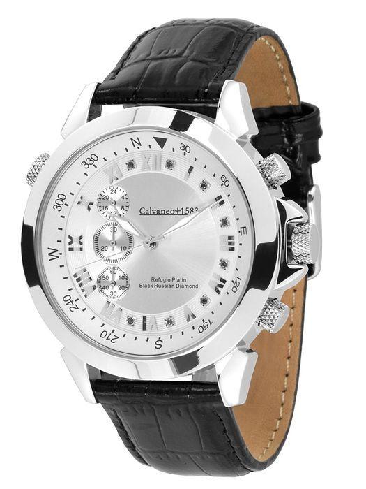 Calvaneo 1583 Refugio zwart Russische diamant platina-verguld-mannen horloge-nieuwe  Met de 'Refugio Platinum' hebben we een nieuw hoogtepunt op basis van de zeer succesvolle Astonia model. Mooie hoogglans gepolijst en platinum-plated roestvrij staal en een indicator van de 'Verticale Chrono' op basis van de Citizen Miyota JS55 kaliber (kwarts) verlenen een uniek karakter op deze prachtige uurwerk. Beschikbaar als platina basisstuk of vergulde versie gemaakt voor de casual en luxe man nu…