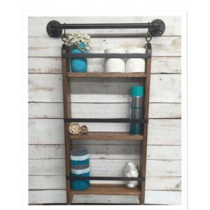 Bathroom ladder shelf, rustic bathroom shelf, industrial shelf, farmhouse shelf, cottage chic, home decor, shelf w/pipe towel bar by countrycornergoods on Etsy https://www.etsy.com/listing/255047793/bathroom-ladder-shelf-rustic-bathroom