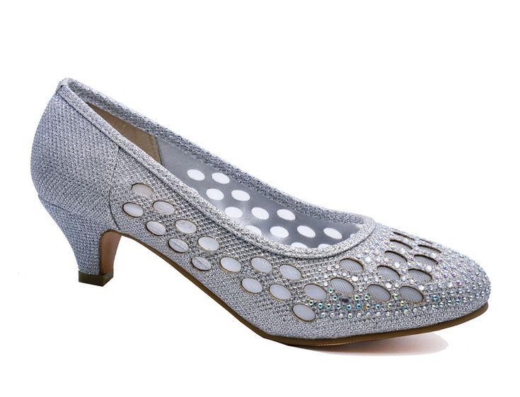 ladies silver wedding bridal bridesmaid prom diamante kitten heel regarding silver kitten heel shoes wedding