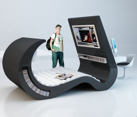 Łóżko połączone z fotelem/sofą + TV